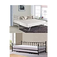 KOSY KOALA Glossy vanilla daybed white black with underbed trundle (White, with 2 mattresses)