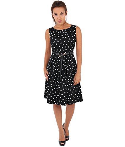 6874-BLK-16: KRISP Damen 50er Jahre Vintage Kleid -