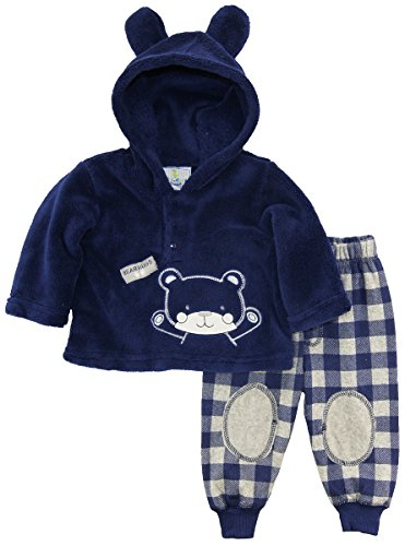 duck-goose-baby-boys-teddy-bear-ear-sherpa-hoodie-microfleece-plaid-pant-set-navy-3-6-months