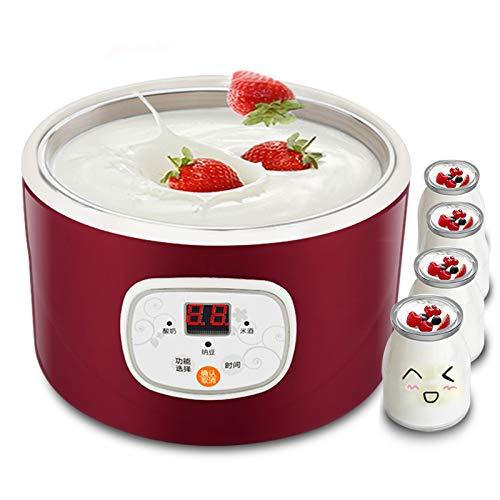 1L Macchina elettrica automatica del yogurt LCD,Macchina del yogurt del riso del riso del contenitore con acciaio inossidabile per la casa,Temperatura costante intelligente,Temporizzatore