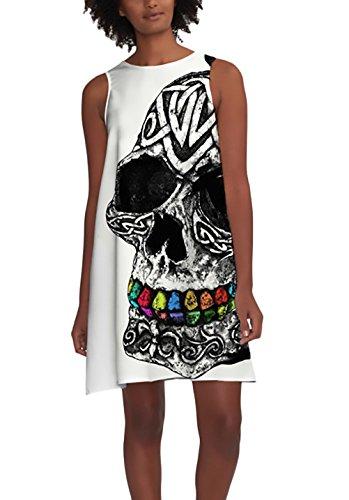 Kleider Damen Sommer Elegante Ärmellos Rundhals Totenkopf Gemustert Shirtkleid Blusekleid Kleid Kurz Young Locker Freizeitkleider Mädchen Halloween Kleidung Weiß (Color : Weiß, Size : One Size)
