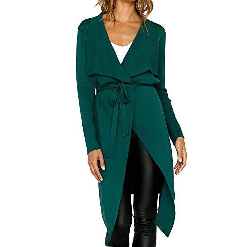BaZhaHei Damen Mantel Frauen Langarm Leder Open Front Short Cardigan Anzug Jacke Solid Long Coat Tasche Einfarbig Revers Faux Wildleder Strickjacke Mantel