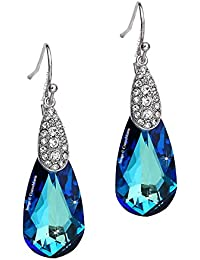 """Young & Forever navratri jewellery & diwali gifts for family and friends Timeless Treasure """"Venice Encounter"""" Blue Teardrop Crystals From Swarovski Dangle & Drop Statement Earrings for Women / Girls. Daily / Festive / Party Wear Fashion Jewellery."""