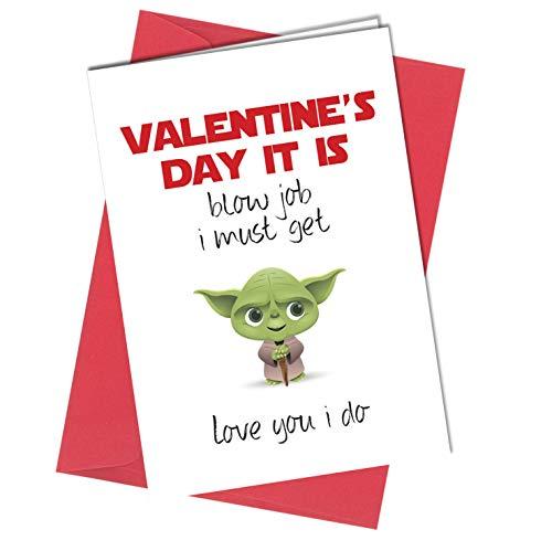 #436 Valentine Yoda Star Wars Bl*w Job-Grußkarte Junge Mädchen Humor Lustig Rude (A4 gefaltet auf A5) Top Qualität Glückwunschkarte knapp (Valentine Wars Karten Star)