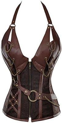Jusian - Corsé para mujer estilo retro gótico con ballenas, bustier vintage, reductor de cintura