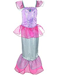 Wetry Vestito Sirena Bambina Principessa Ragazza Gonna Paillettes Abito di Cosplay  Halloween Carnevale Party Costume 73fe9f2b7e6