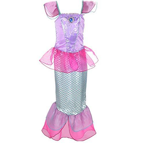 Mädchen Meerjungfrau Kostüm Pailletten Kleid Prinzessin Karneval Party Halloween Weihnachten Kinderkostüm/10-12Jahre