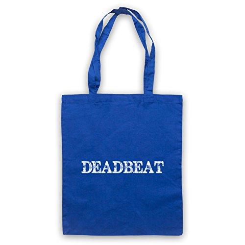 Deadbeat borsa, scritta con Slogan divertente Blu