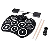 OLDF Tragbare Tabletop Rollum-Up Drum Kit, Silicone Drum Practice Pad, USB 9 Pads Foldable Drum Set Recording Funktion Great Holiday Birthday Gift for Kids