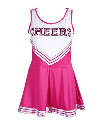 Baymate Damen Cheerleader Kostüme Ärmellos Kleid Uniform Karneval Faschingkostuem (Uniform Kostüme Fußball)