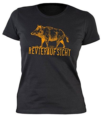 Lustiges Damen Jäger Sprüche Shirt / Wildschwein : Revieraufsicht -- Damenshirt Jagd Farbe: schwarz Gr: M