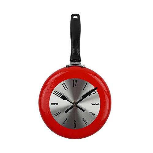 Retro Wanduhr Metall Bratpfanne Design, 8 Zoll rote Uhren Küche 50er Jahre Vintage Runde stille Nicht tickende Qualität Quarzuhr, lesen Home Office Schule
