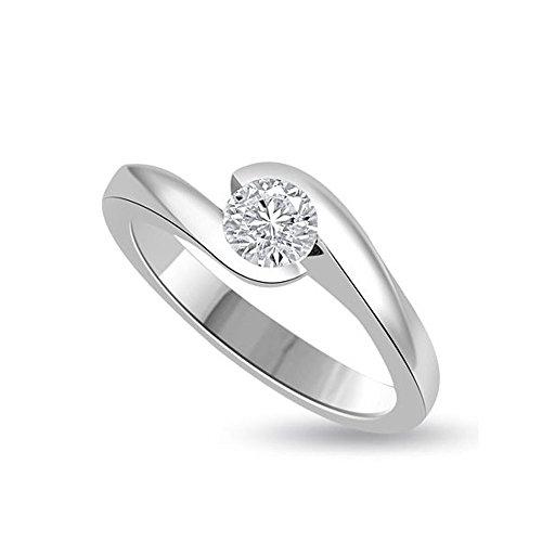 0.25ct G/VS1 Solitär Diamant Verlobungsring für damen mit Runder Brillantschliff Diamanten in 18kt (750) Weißgold