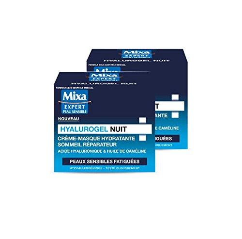 MIXA Hyalurogel Nuit Crème-Masque Hydratante Sommeil Réparateur 50 ml - Lot de 2