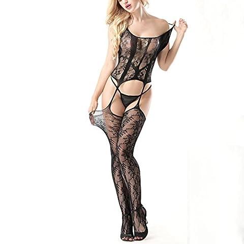 Fxwj Femmes lingerie bodystocking Mesh résille collants encolure ouverte entrejambe sangle florale Body