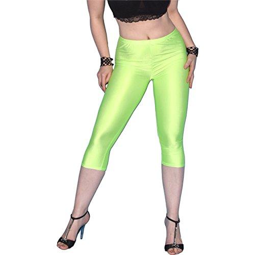 Glänzende Capri Leggins in verschiedenen Farben (grün, S) Lycra Capri Leggings