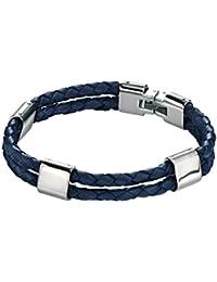 Fred Bennett Stainless Steel Mens B3671 Double Strand Brown Leather Bracelet of Length 21.5cm