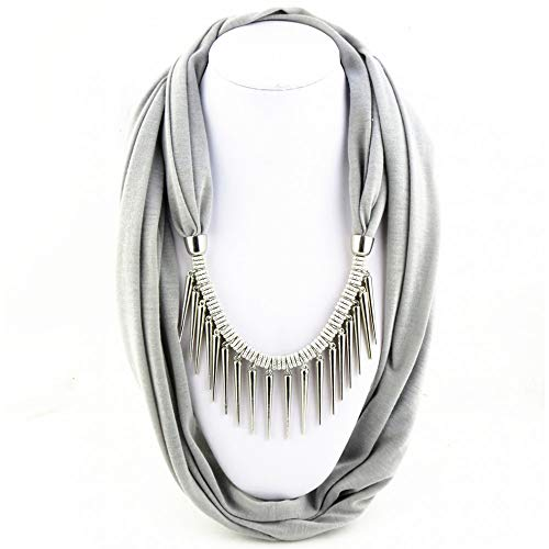 Ome&qiumei pendente nappa sciarpa collana sciarpa scialle della signora - grigio argento, 180x40cm