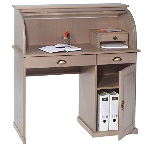 Sekretär Schreibtisch DALLAS Schreibkommode Kommode im Landhaustil mit Schubladen und Rolladen, Kiefer massiv taupe lackiert