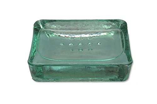 Recyceltem Glas Seifenschale-blickdicht grün/türkis Glas Seifenschale-12,5cm - Glas-seifenschale
