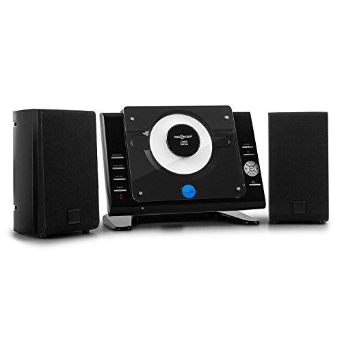 oneConcept Vertical 70 • Equipo estéreo • minicadena • Vertical • Puerto USB con MP3 • Pantalla LCD • Reproductor de CD con MP3 • AUX • Radio Am/FM • Mando a Distancia • Montaje en la Pared • Negro