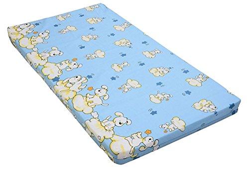 Best For Kids Kinderbettmatratze, Babymatratze 60x120 cm Kinder Rollmatratze 5 cm aus 100% Baumwolle (blau)