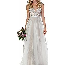 Sunroyal Mujer Vestido de Novia Largo V Cuello Sin Espalda Baile de Encaje Blanco Gasa Vestido de boda Wedding Dress S-XL
