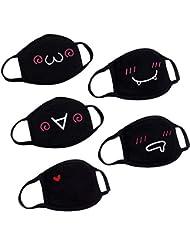 Clispeed 5pcs Unisex Cotton Bouth Mask Cute Kawaii Maschera Anti Polvere Viso Bocca Maschera per Uomini Woemn