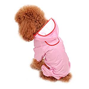 Fangfang Waterproof Pet Dog Clothing Puppy Hooded Raincoat Transparent Rainwear Clothes for Small Medium Large Dogs Pink XL