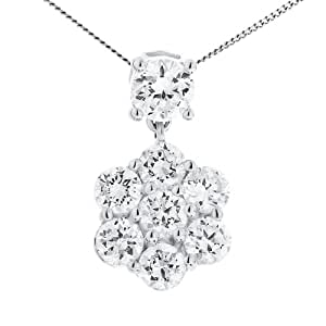 9ct White Gold Ladies' Cluster Cubic Zirconia Flower Drop Pendant on 46cm Curb Chain