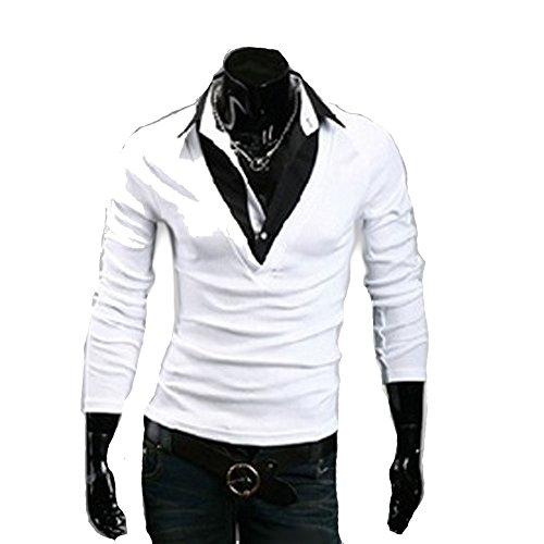 Herren Poloshirt Slim Fit langarm Polo Shirt Weiß