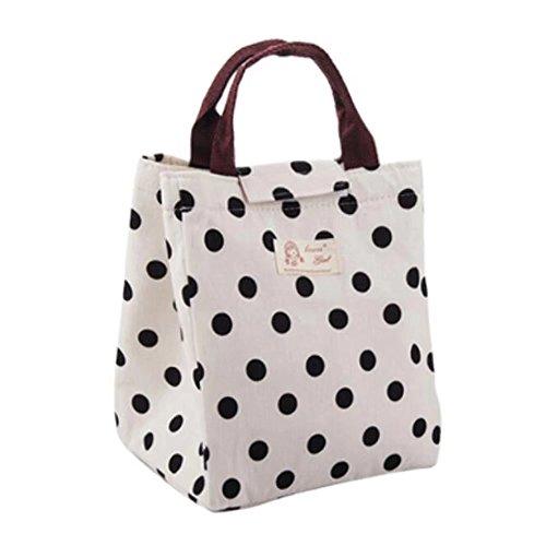 Lunch-Tasche, Baumwolle mit isolierender Aluminium-Folie, Kühltasche für Reise, Schule, Mittagessen, mit Tragehenkel und Schlaufenverschluss, für Kinder, Mädchen