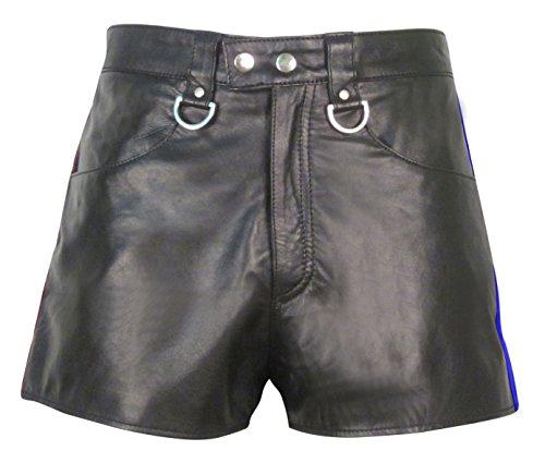 Bespoke Tailored Leather -  Pantaloncini  - Uomo Black with Blue