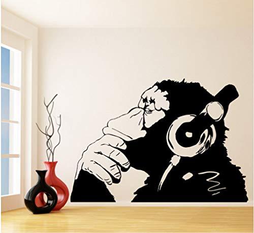 Vinyl Wall Decal Affe mit Kopfhörer Chimp Musik im Kopfhörer Street Graffiti Aufkleber Wandbild 55X80cm hören