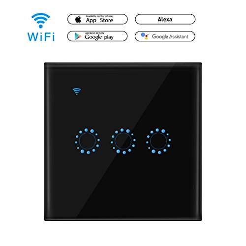 Licht-timer Wandschalter (WiFi Smart Touch Schalter funktioniert mit Amazon Alexa und Google Home, A0ZBZ 3-Gang Wireless Glas weiß Touch Panel Timer Wandleuchte Switch Smart Phone Fernbedienung (Neutral Draht erforderlich))