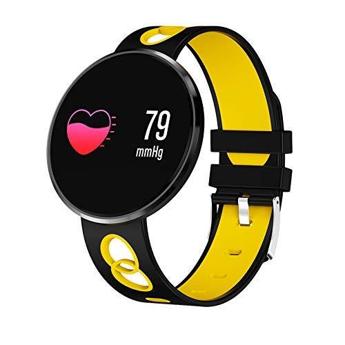 Mcottage Smart Armband Farbe LCD Monitor IP67 Herzfrequenz Blut Druck Zähler Schritt Wasserfest Sports Schrittzähler Kalorie Armband - Schwarz Gelb (Blut-zähler)