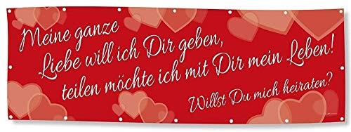 Hochzeitsbanner Banner Werbebanner - Meine ganz Liebe Willst Du mich heiraten - 3x1m - Spannband - 309981