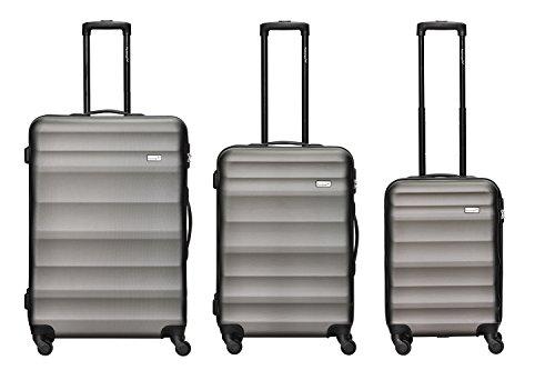 Packenger Kofferset - Timber - 3-teilig (M, L & XL), Anthrazite, 4 Rollen, Koffer mit Zahlenschloss, Hartschalenkoffer (ABS) robuster Trolley Reisekoffer