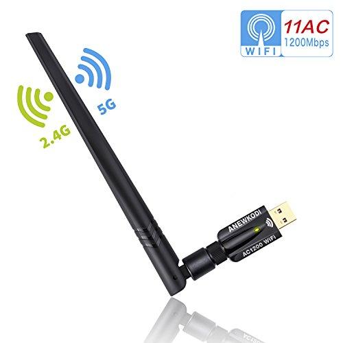 ANEWKODI AC1200Mbps inalámbrico barra WLAN para PC, USB WiFi adaptador WiFi dongle banda dual (2.4 GHz/300Mbps + 5 GHz/867Mbps) extensor de red antena alta ganancia WiFi 802.11 a / b / g / n / AC