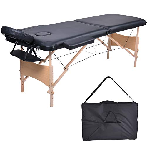 Mc dear lettino da massaggi legno 2 zone pieghevole portatile professionale lettini massaggi altezza regolabile con bracciolo, poggiatesta, borsa da trasporto, 15kg, nero