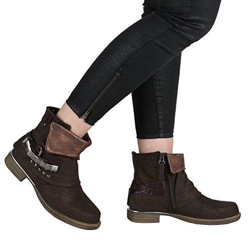 ... Damen Stiefeletten   Biker Boots Schnallen Nieten   Knöchelhohe Stiefel  Leder-Optik Dunkelbraun Braun e2cad5f598