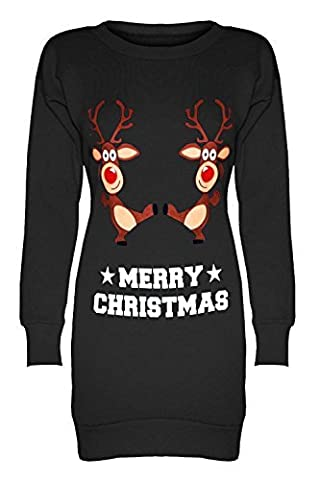 Be Jealous Damen Fleece Weihnachten Schneemann Weihnachten Rentier Bulldog Elfen Santa Elfen Sweatshirt Minikleid - Dancing Reindeer Black, M/L (Dancing Santa Weihnachten)