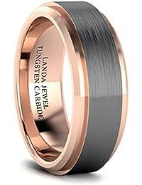 Tungsten Carbide 8mm Wedding Band for Men Beveled Edges Highly Polished and Center Brushed Comfort Fit