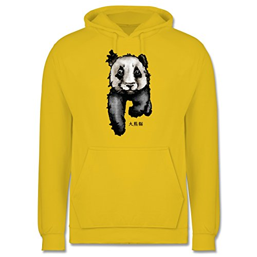 """Wildnis - Panda mit chinesischen Schriftzeichen für Panda übersetzt """"große Bär-Katze"""" - Männer Premium Kapuzenpullover / Hoodie Gelb"""