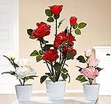 Rose in Topf mit 3 LED-Blüten Kunstblume in weiß, pink oder rot Höhe 30 cm (rot)