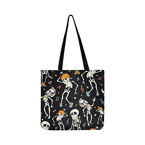 Vektor Tanzen Skelette Party Halloween Nahtlose Leinwand Tote Handtasche Umhängetasche Crossbody Taschen Geldbörsen Für Männer Und Frauen ()