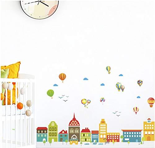 Cartoon Castle Ballon Stadt Haus Aufkleber Für Kinder Zimmer Kinder Schlafzimmer Wand Kunst Geburtstag Party Dekor 75x125cm ()