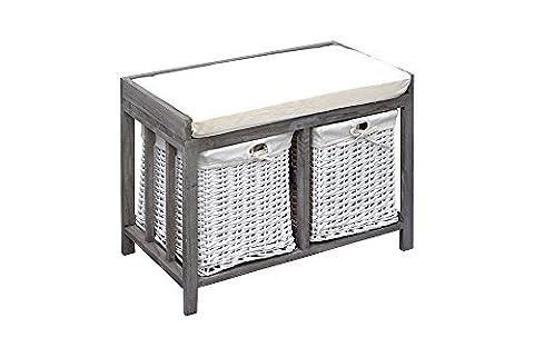 Rebecca Srl Bench Storage Unit 2 Drawers Seat Padded Grey