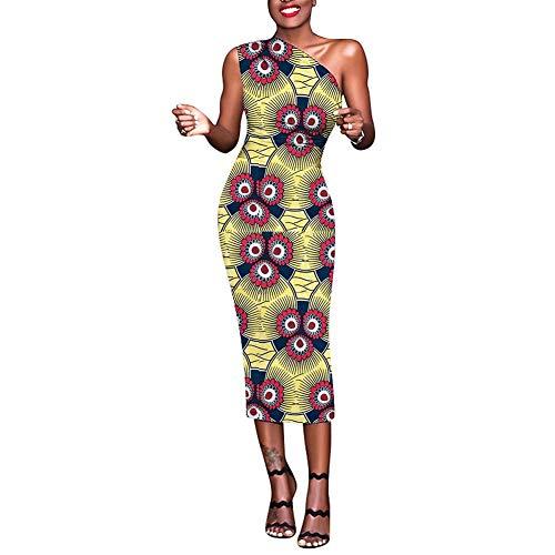 Lover-Beauty Damen Vintage Retro Rockabilly Kleid Bodycon Pencil Kleid Bleistiftkleid gelb s - Kalte Schulter Kleid