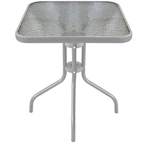 Wohaga® Bistrotisch Balkontisch Glastisch 60x60cm Beistelltisch Gartentisch mit Glasplatte - Silber